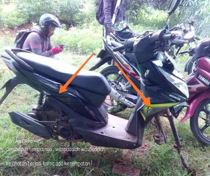 Ditinggal mancing, sepeda motor kehilangan ban dan velg. Aksi pencuri ini, diunggah dan menjadi viral di media sosial. Buseettt iseng betul