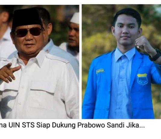 Ari Kurniadi, Presma UIN STS Jambi siap mendukung Prabowo-Sandi. Hal ini disampaikan pada DinamikaJambi.com, Senin (20/05/2019) terkait kecurangan Pilpres