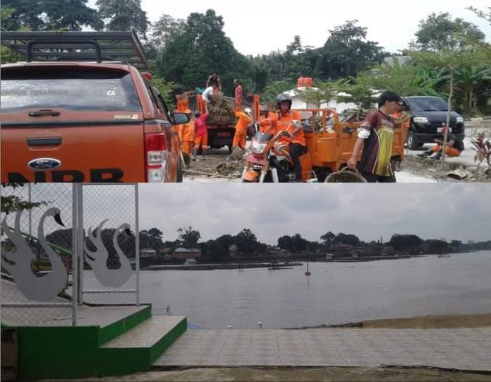 Sejumlah pekerja kebersihan dan jajaran Pemkot turun ke Danau Sipin, Jumat (21/06/2019). Wako Fasha juga ikut dalam gotong royong