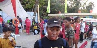 Pelatih Papua keluhkan dangkalnya Danau Sipin pada Kejurnas Dayung. Rosa, pelatih PPLP Papua memberikan keterangan pada awak media, Jumat (26/07/2019) siang.