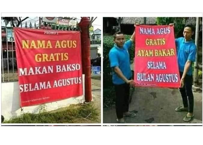 Anda Namanya Agus? Gratis makan selama agustus di Angkringan Nusantara di Merangin, Provinsi Jambi
