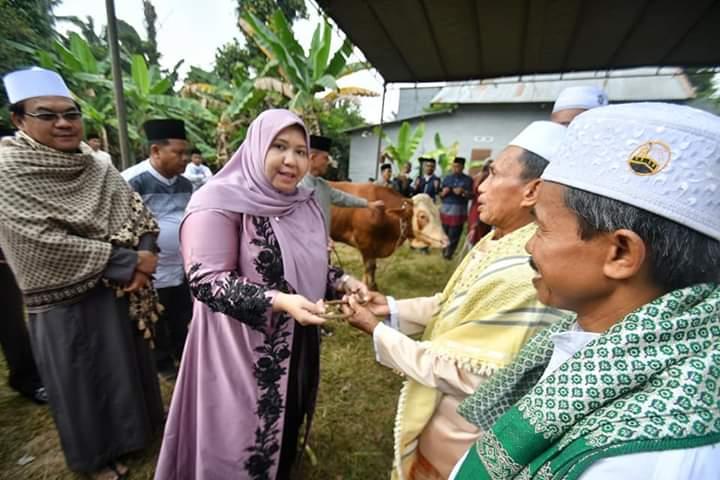 Bupati saat menyerahkan hewan qurban bagi pengurus masjid At Taqwa Km 20 Sebapo, Kecamatan Mestong, Kabupaten Muaro Jambi, Minggu (11/08/2019) pagi
