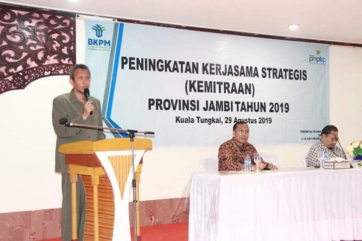 Dinas PMPTSP menggelar acara Peningkatan Kerjasama Strategi Kemitraan (PKSM) di Aula Tungkal hotel, Kamis (29/8/2019)