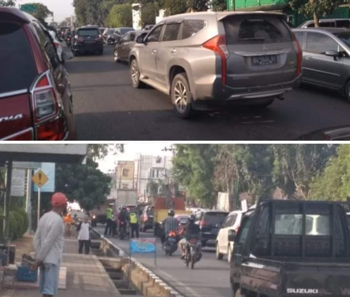 Situasi lalu lintas di The hok, Kota Jambi mendadak macet, saat pngendara banyak putar arah, Rabu (04/09/2019)