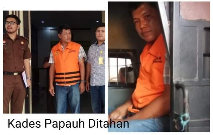 Kejari Tahan Kades Sungai Papauh, Kecamatan Muara Papalik, Tanjab Barat. Karmani (45) ditahan lantaran pengunaan Dana Desa dan ADD 2017 dan 2018