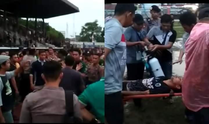 Kota Jambi Vs Batanghari Berujung Ricuh,, 1 Pemain Dilarikan Pakai Tandu