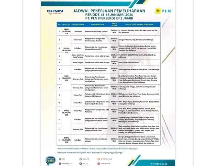 PLN UP 3 Jambi lakukan Pemadaman Secara Bergilir, Berikut Jadwalnya