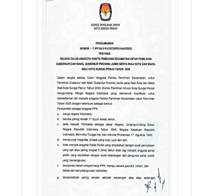 KPU Kota Sungai Penuh Buka Pendaftaran Seleksi Calon Anggota PPK