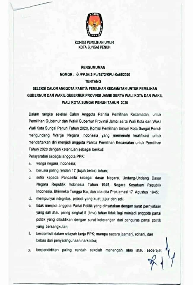 Kpu Kota Sungai Penuh Buka Pendaftaran Seleksi Calon Anggota Ppk Dinamika Jambi