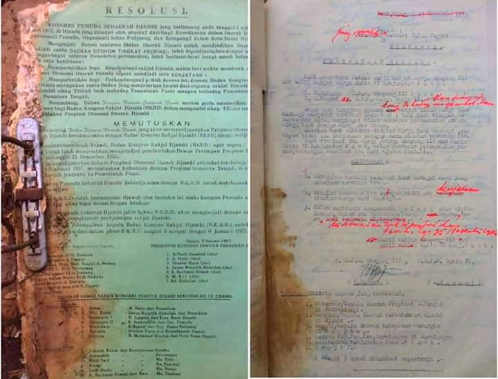 Beredar Dokumen Asli Pembentukan Jambi Sebagai Otonom di Medsos