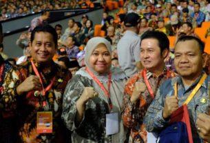Bupati Muaro Jambi Hj Masnah Busro hadiri Rakornas Penanggulangan Bencana, Selasa (04/2/20). Presiden RI, Joko Widodo membuka langsung acara.