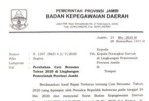 Cuti ASN Pemprov Jambi resmi dibatalkan, besok Jumat (22/05/2020) masuk kerja. BKD mengeluarkan surat pemberitahuan perubahan cuti Idul Fitri nomor S-1195/BKD-4.2/V/2020.