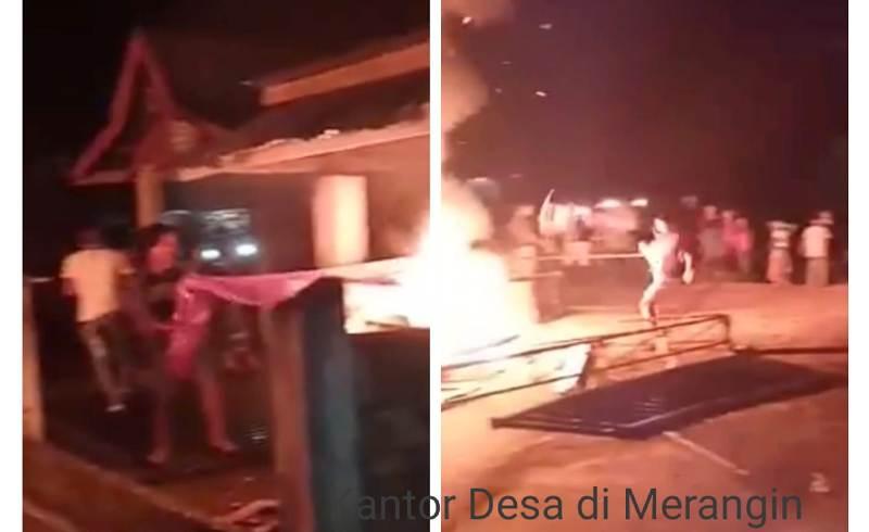 Pembakaran posko Covid-19 dan pengrusakan kantor desa, buntut rusuh BLT di Merangin, Selasa (19/05/20) Bupati sebut ada unsur kesengajaan.