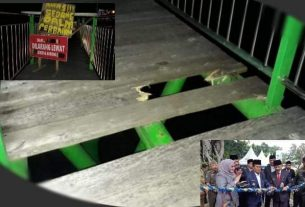 Belum Setahun Diresmikan, Lantai Jembatan RTH Taman Anggrek Mulai Ambruk