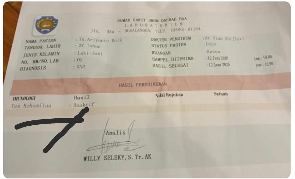 Hasil Rapid Test kali ini geger, seorang pria dinyatakan positif hamil dikeluarkan Tim Gugus Tugas Penanganan Covid-19 Kabupaten Rote Ndao