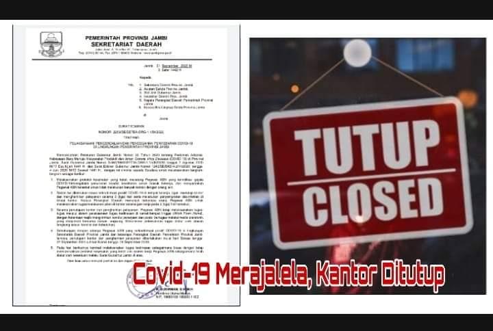 Covid-19 Merebak, Kantor Gubernur Jambi Ditutup, Berikut Surat Edarannya