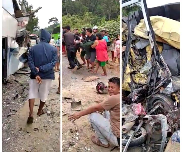Kecelakaan di Jalan Lintas Sumatera, Rabu (30/9/20). Mengerikan, tabrakan Bus Langsung dan Truk di Pelepat Bungo, 2 meninggal di tempat.