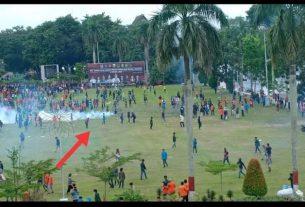 Aksi demo tolak Omnibus Law, Senin (12/10/20) dihadiri ribuan massa. Berulang kali provokasi, demo tolak UU Ciptaker di Jambi ricuh.