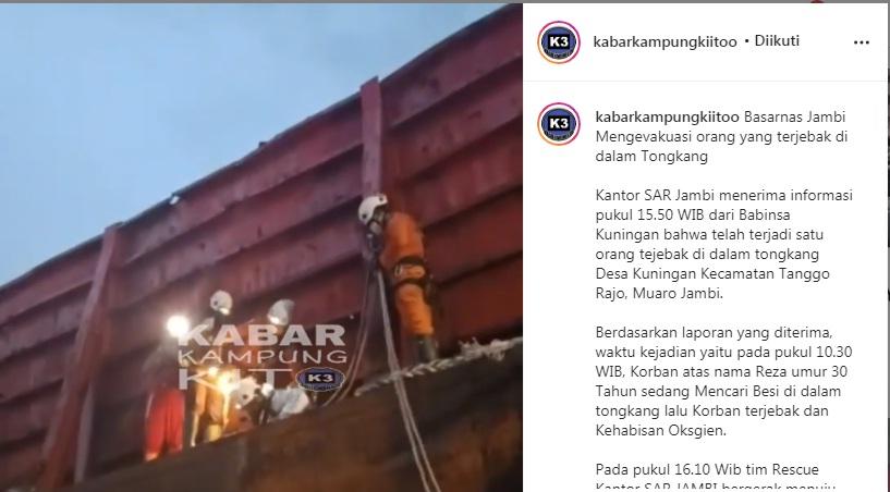 Reza (30) terjebakdan kehabisan oksigen dalam sebuah tongkang saat hendak mencari besi di Desa Kunangan, Kecamatan Taman Rajo, Muaro Jambi.