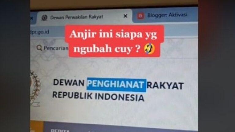 Usai blokir akun DPR RI di Instagram viral, situs DPR RI lumpuh diretas, Kamis (8/10/20) jadi Dewan Pengkhianat Rakyat. Polisi menyelediki