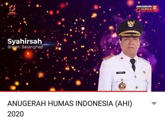 Bupati Batanghari, Ir H Syahirsyah sy raih penghargaan dari AHI 2020. Syahirsyah terpilih menjadi Bupati Terpopuler di Media Digital.
