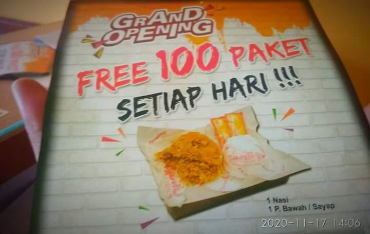 Pertengahan November 2020 ini, sebuah resto Quality Fried Chicken di Jambi, lagi promo besar besaran. Dimana, mereka sudah menyiapkan 100 paket makan gratis bagi pengunjung.
