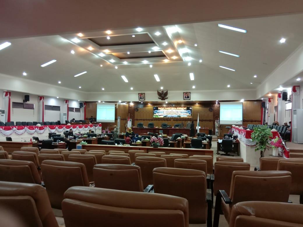 Bupati Safrial tak hadir, Rapat Paripurna DPRD Kabupaten Tanjung Jabung Barat, Senin (30/11/2020) kembali molor di laksanakan.