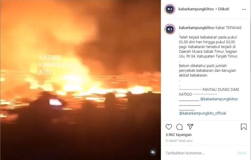 Si jago merah kembali beraksi di Kabupaten Tanjabtim. Kali ini, kebakaran terjadi di Kecamatan Sabak Timur, Rabu (30/12/2020) Dinihari.