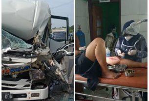 Kejadian kecelakaan lalu lintas terjadi di Lintas Sumatera. Kecelakaan Mikrobus tabrak Fuso parkir di Kecamatan Mestong, Selasa (22/12/20)