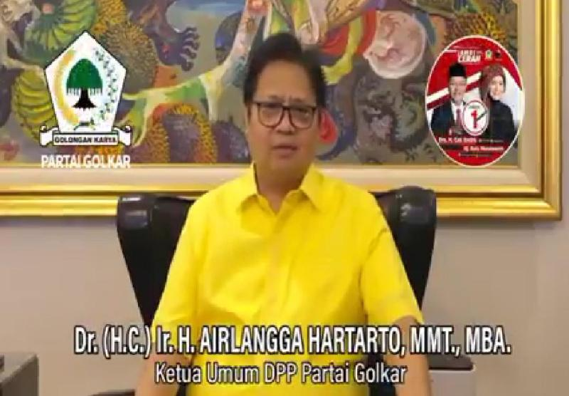 Ketum Golkar Airlangga Hartato mengajak masyarakat Jambi agar memenangkan CE-Ratu dalam Pilgub nanti. Tinggal hitungan hari lagi, masyarakat.