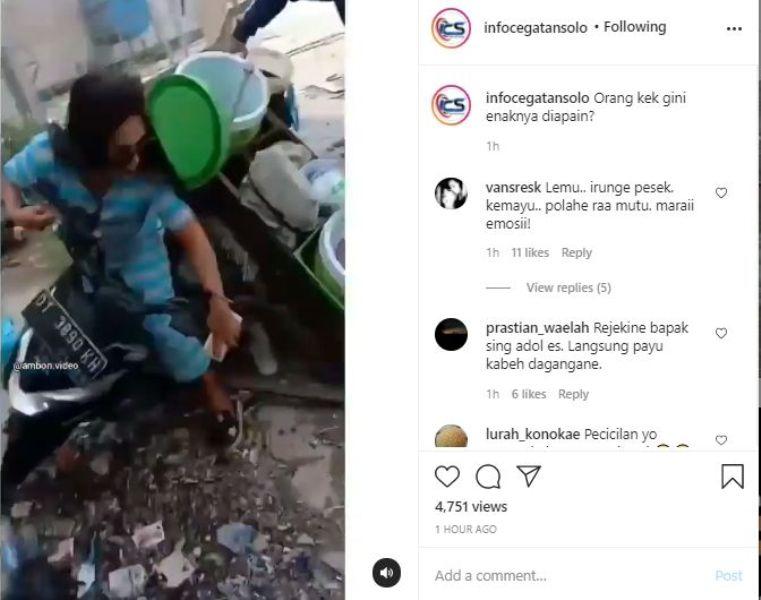 BERITA VIRAL - Sebuah unggahan di sosial media. Bagaimana tidak, demi sebuah konten, seorang wanita tumpahkan sebaskom yang berisikan cendol