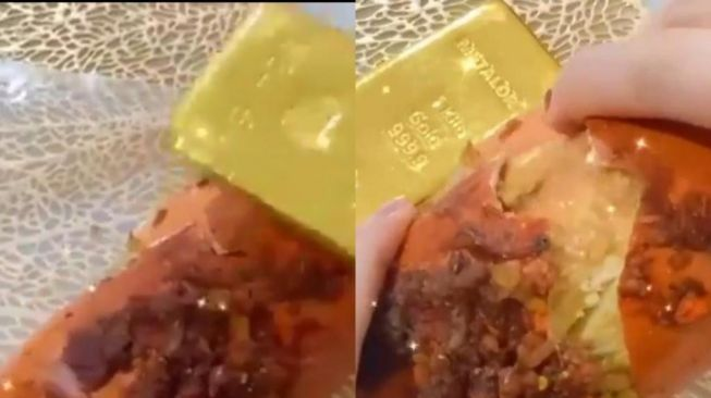 Baru-baru ini tengah beredar sebuah video, aksi emak-emak berbagi tips pecahkan kepiting dengan menggunakan emas batangan.