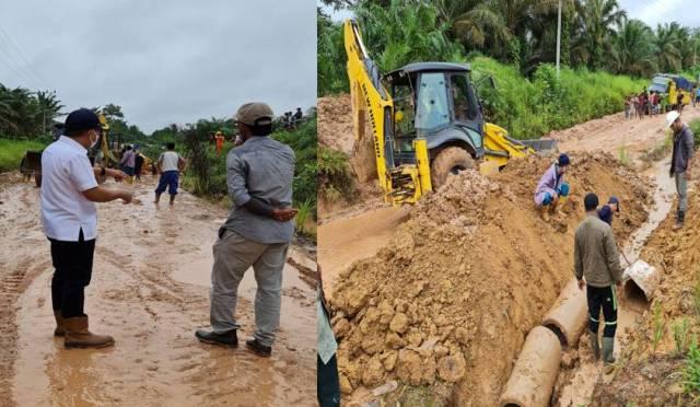 Intensitas hujan meningkat awal tahun 2021 mengakibatkan sejumlah ruas jalan rusak. Kerahkan Dinas PUPR, Bupati ternyata siapkan kebijakan penanganan jalan di Kecamatan Sungai Gelam di 2021.