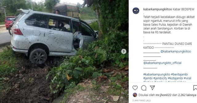 Lakalantas kembali terjadi di jalan lintas Provinsi Jambi. Kali ini di duga sopir mengantuk, Selasa (05/01/21) sebuah mobil di Sarolangun oleng hingga nyungsep ke semak-semak di pinggiran jalan.