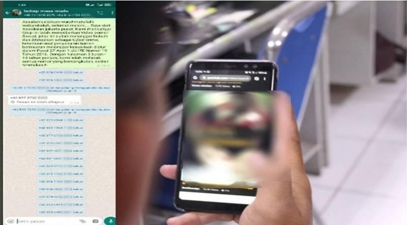 Sebuah foto tangkapan layar. Di ketahui, Whatsapp group ini merupakan khusus untuk berbagi video porno atau Bokep di ciduk polisiki.