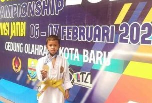 Gavin, bocah berusia 9 tahun asal Kabupaten Kerinci sabet medali Emas, di ajang beladiri Kuju Cadet Championship Piala Dispora Provinsi Jambi, Selasa (09/02/2021).