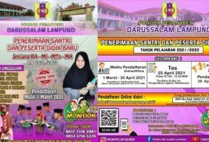 Pondok pesantren Darussalam Lampung pada awal Maret 2021, akan membuka pendaftaran santri dan Peserta Didik baru tahun pelajaran 2021-2022 .
