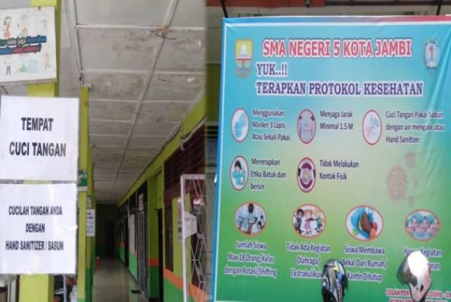 Salah satu sekolah di Kota Jambi, yakni SMAN 5 mulai menerapkan Pembelajaran Tatap Muka (PTM). Tempat menimba ilmu ternama ini, mengatakan telah siap secara Protokol kesehatan (Prokes).