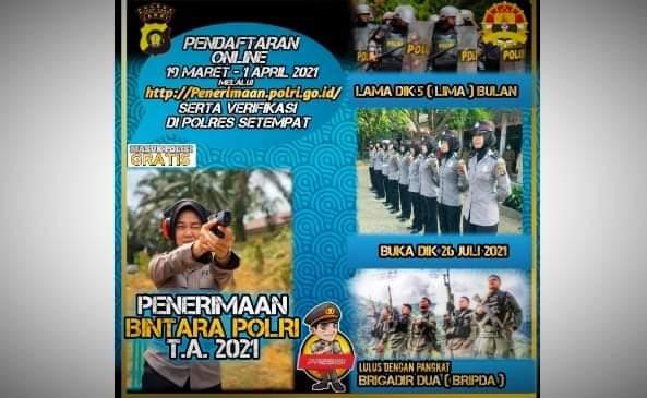 Penerimaan calon anggota Polri tahun 2021 resmi dibuka di seluruh indonesia, Jum'at (19/03/2021) termasuk di Provinsi Jambi. Lalu berapa kuota untuk di Jambi?