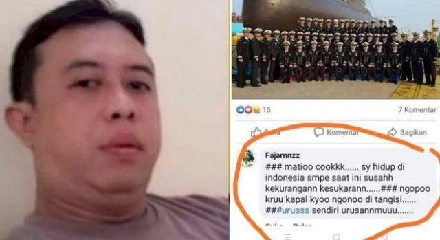 Akibat unggahan dengan komentar negatif tentang tenggealamnya kapal selam KRI Nanggala 402, seorang oknum polisi berpangkat Aipda, dibekuk polisi.