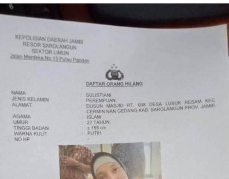 Beredar Informasi seorang perempuan berparas cantik, asal CNG Kabupaten Sarolangun di kabarkan hilang, Sabtu (17/04/2021).