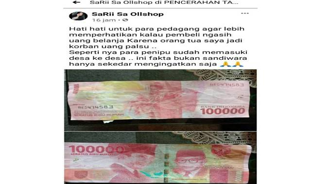 Sejumlah masyarakat di Kabupaten Tanjung Jabung Barat (Tanjabbar), di duga menjadi korban penipuan dari peredaran Uang Palsu di pasaran.