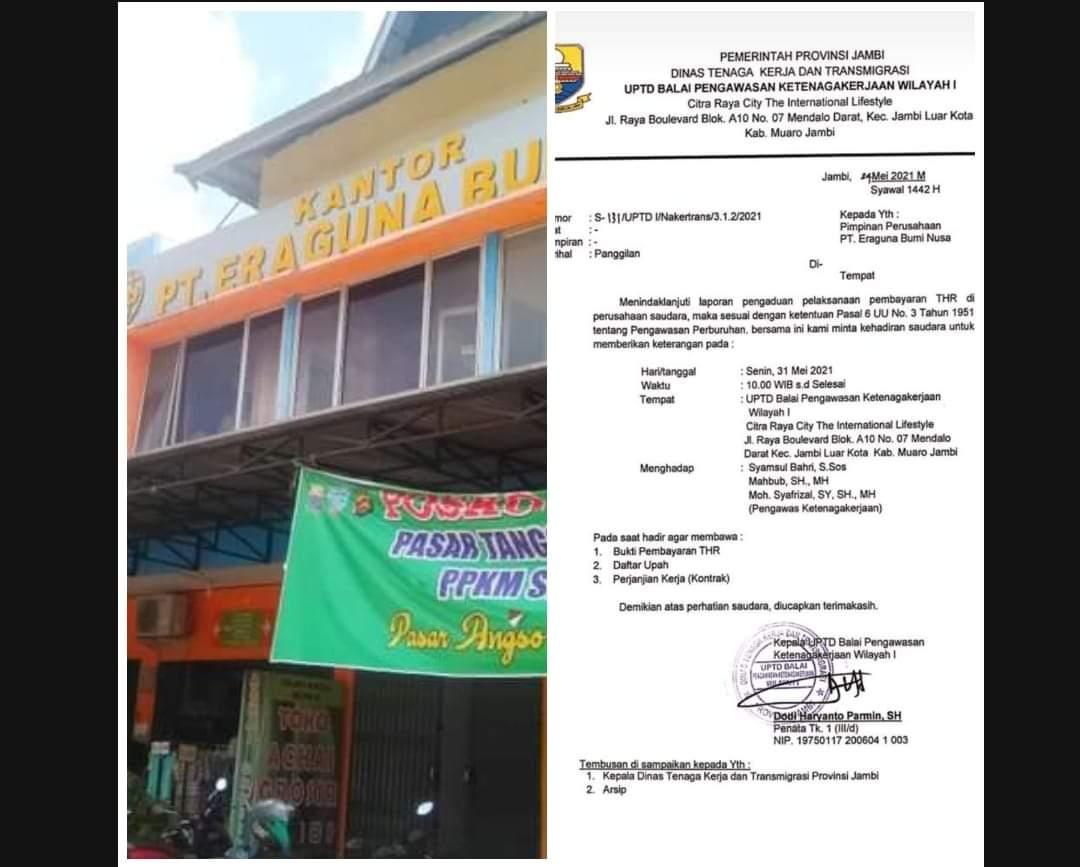 deadline ke pemerintah soal tunggakan Kontribusi Rp 10,5 M, PT Eraguna Bumi Nusa kini bermasalah dengan pekerja. PT EBN dilaporkan tak bayar THR