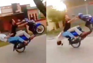 Jagat maya kembali di hebohkan dengan aksi freestyle yang berujung dengan maut, pasangan ABG atau Sijoli ini teejungkal usai melakukan aksi Jumping motor di jalan raya. Alhasil, keduanya pun jatuh.