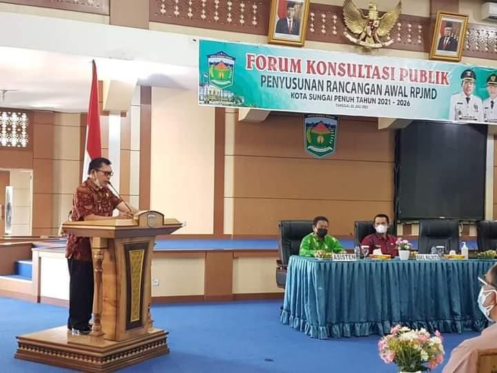 Buka Forum Konsultasi Publik RPJMD, Wako Ahmadi harapkan sinergitas pembangunan dan tekankan penanganan Covid-19. Hal ini di sampaikannya, Kamis (22/07/20201).