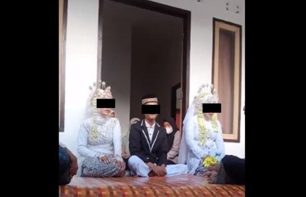 Beredar video momen pernikahan seorang lekaki, yang nikahi 2 (dua) perempuan atau wanita sekaligus.