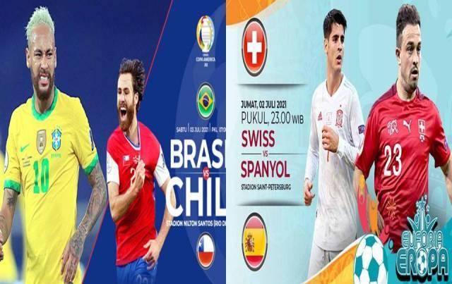 Jadwal laga Liga EURO dan Copa Amerika, berlanjut mala mini. Di 8 besar liga Eropa ada Swiss yang akan berhadapan dengan Spanyol. Selanjutnya, Italia kontra Belgia. Siapa jargonmu?