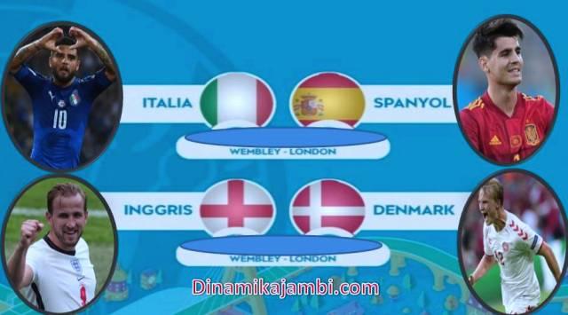 Babak perempat final Euro 2020 sudah rampung. Empat tim yang lolos ke semifinal, Yaitu Spanyol, Italia, Inggris dan Denmark. Sesuai jadwal semifinal EURO 2020, dua laga ini akan di gelar pada 7-8 Juli 2021 mendatang.