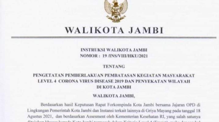 Pengetatan Penerapan Pembatasan Kegiatan Masyarakat atau PPKM resmi di mulai dini hari, Senin (23/08/2021) jam 12 nanti malam, hingga Minggu (29/08/2021) mendatang. Berikut Instruksi Walikota Jambi, Syarif Fasha.