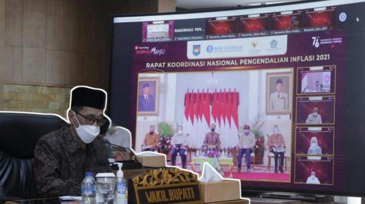 Wakil Bupati Batanghari H Bakhtiar SP ikuti Rakornas pengendalian inflasi daerah tahun 2021, yang di adakan Kementerian Dalam Negeri, Kamis (25/08/2021).
